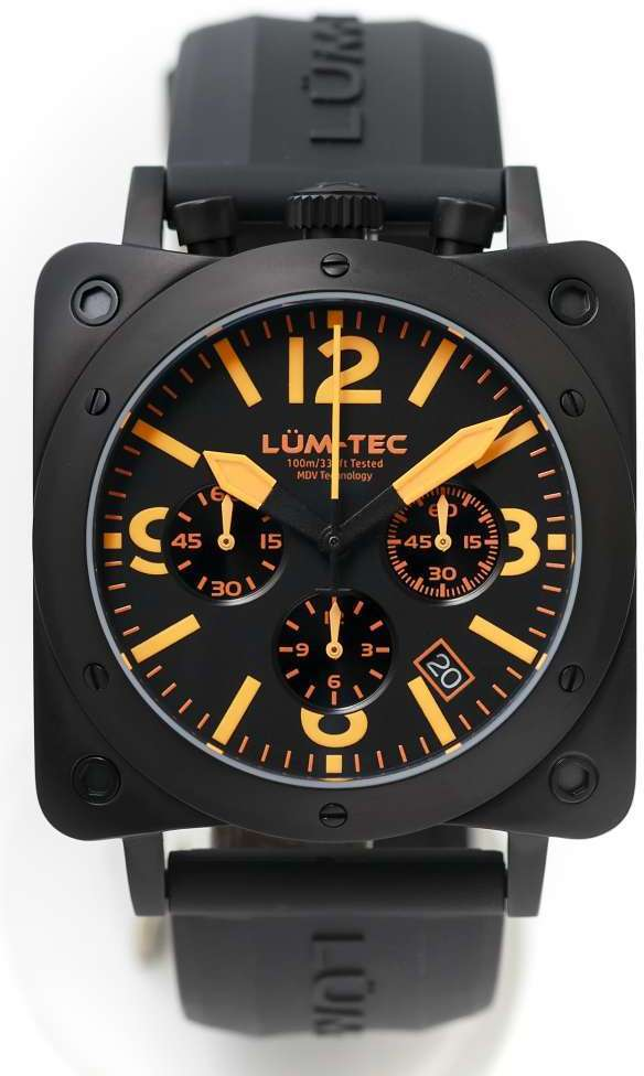 Lum-Tec Watch - Bull42 - A20 Mens Orange Dial Black Stainless Steel