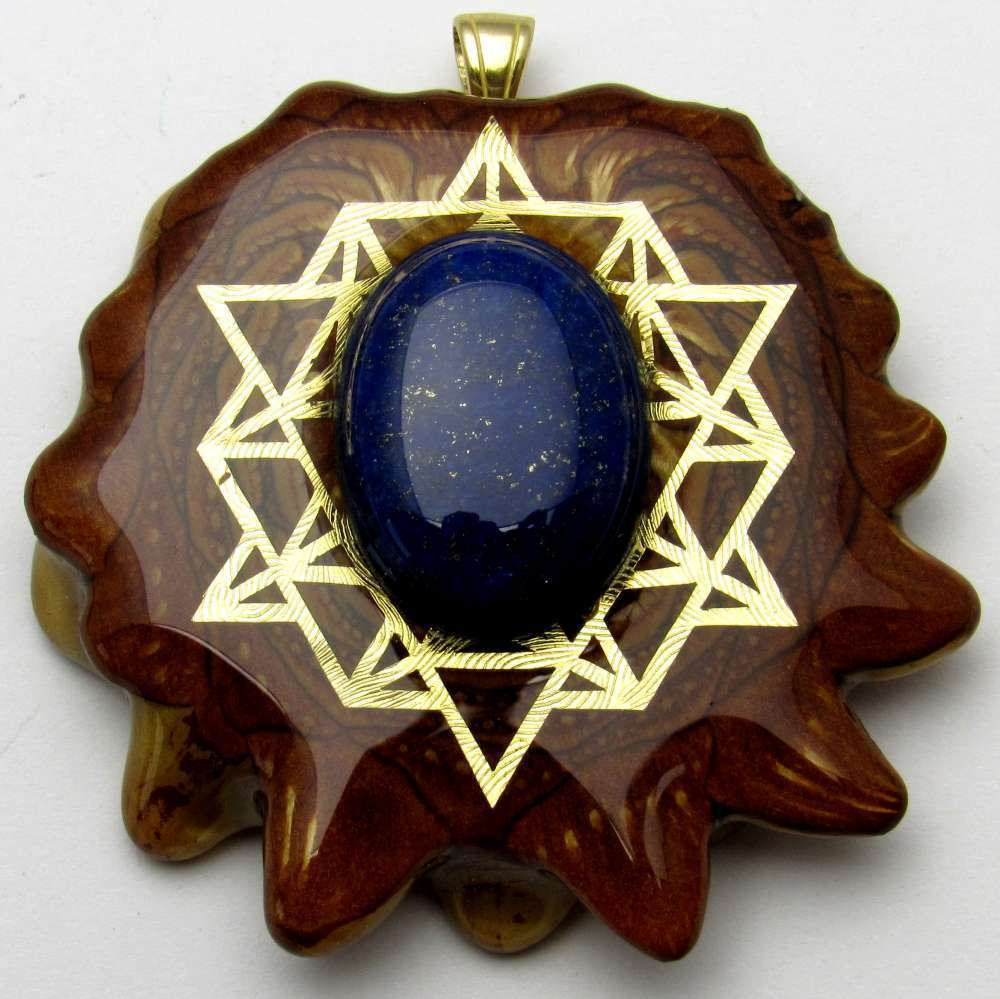 "Third Eye Pinecones - 2"" Lapis Lazuli w/ 64 Star Tetrahedron Pendant - Handcrafted from the Knobcone Pinecone"