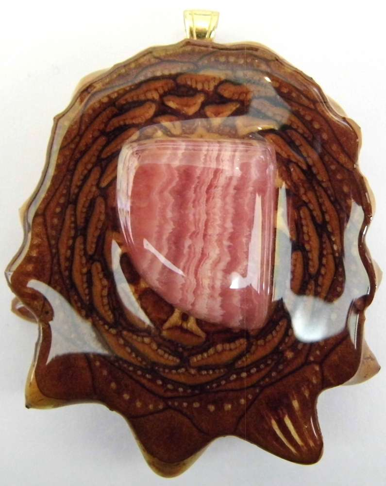 "Third Eye Pinecones - 2"" Rhodochrosite Pendant - Handcrafted from the Knobcone Pinecone"