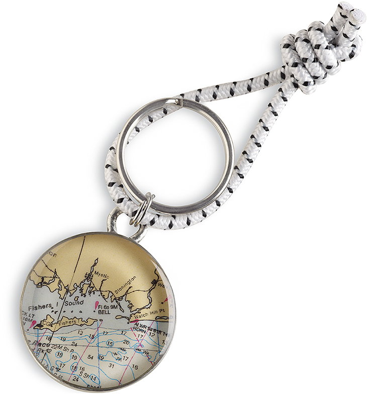 "Customizable Map 1.25"" Pewter Key Ring by Chart Metalworks Nautical Travel Gift Idea"