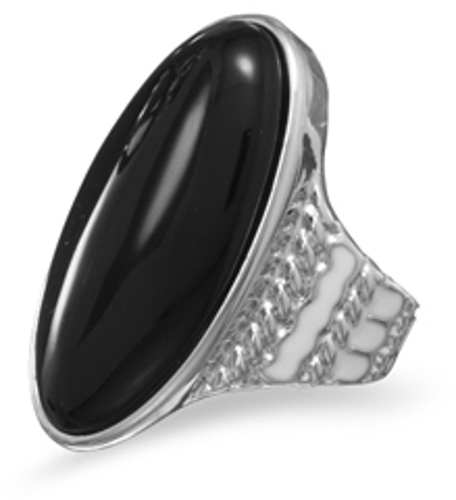 Rhodium Plated Brass Ring with Black Onyx and Enamel
