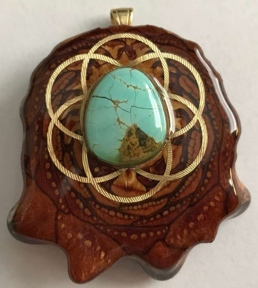 "Third Eye Pinecones - 2"" Turquoise in the Matrix w/ Seed of Life Pendant - Handcrafted from the Knobcone Pinecone"