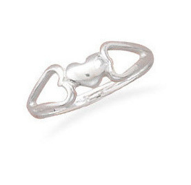 Heart Ring with Heart Sides 925 Sterling Silver
