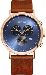 Bering Time - Classic - Mens Rose Gold Plated & Brown Leather Chronograph Watch (Mens) 10540-467 - CLEARANCE