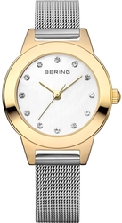 Bering Time - Classic - Ladies Gold and Silver Milanese Mesh Watch w/ Swarovski Crystals (Womens) 11125-010