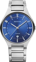 Bering Time - Titanium - Mens Silver Tone & Blue Watch Stainless Steel 11739-707