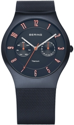 Bering Time - Titanium Case - Unisex Style Blue Milanese Mesh Watch 11937-393