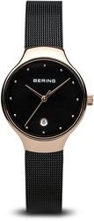Bering Time Watch -  Classic Ladies Polished Pink with Black Dial 13326-262