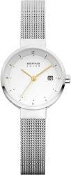 Bering Time - Solar - Ladies Silver Milanese Mesh Watch w/ Date (Womens) 14426-001