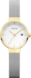 Bering Time - Solar - Ladies Gold and Silver Milanese Watch w/ Date (Womens) 14426-010