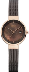 Bering Time - Solar - Ladies Rose Gold & Brown Milanese Mesh Watch w/ Date (Womens) 14426-265