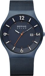 Bering Time - Solar - Mens Blue Milanese Mesh Watch (Mens) 14440-393