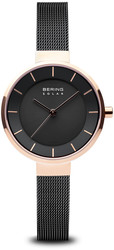 Bering Time Watch -  Solar Ladies Pink Case and Black Mesh Band 14631-166