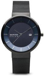 Bering Time Watch -  Solar Mens Blue Dial and Black Mesh Band 14639-227