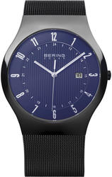 Bering Time - Solar Collection - Mens Black Mesh Watch with Blue Dial & Date 14640-227