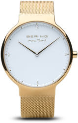Bering Time Watch -  Max Rene Mens White Dial and Gold-Tone Mesh Band 15540-334