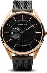 Bering Time Watch - Automatic Mens Black Dial and Mesh Band 16243-166