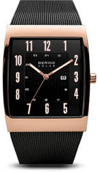 Bering Time Watch - Solar Mens Black Dial and Mesh Band 16433-166