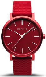 Bering Time Watch - True Aurora Unisex Red Dial and Mesh Band 16934-599