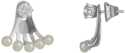 Sterling Silver CZ & Multi Cultured Freshwater Pearl Peek-A-Boo Stud Earrings