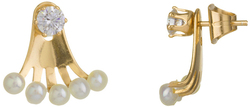 Gold Plated Sterling Silver CZ & Multi Cultured Freshwater Pearl Peek-A-Boo Stud Earrings