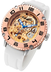 Rougois Skeleton Watch Automatic Mechanical Movement w/ White Silicone Band - LIMITED STOCK