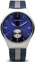 Bering Time - Smart Traveler - Mens Polished Silver Tone & Blue Watch Mesh Band Bluetooth Connected 70142-809