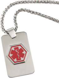 Sabona My Conditions Medical ID Necklace w/60 Pre-Printed Conditions Personalizable