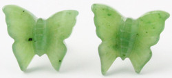 Genuine Natural Nephrite Jade Butterfly Post Earrings
