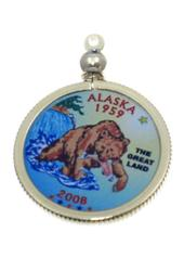 Alaska State Colored Quarter Pendant