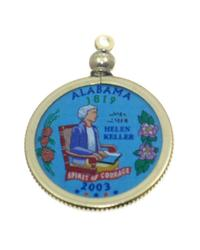 Alabama State Colored Quarter Pendant