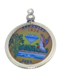 Arkansas State Colored Quarter Pendant