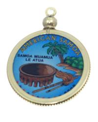 American Samoa Colored Quarter Pendant
