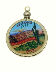 Arizona State Colored Quarter Pendant