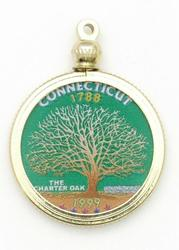 Connecticut State Colored Quarter Pendant