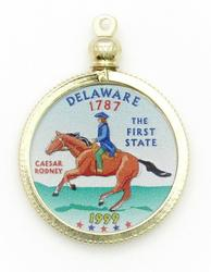 Delaware State Colored Quarter Pendant