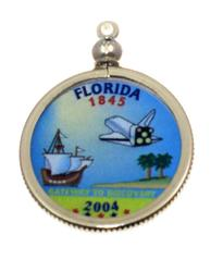 Florida State Colored Quarter Pendant