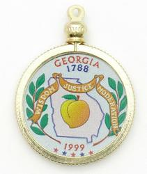 Georgia State Colored Quarter Pendant