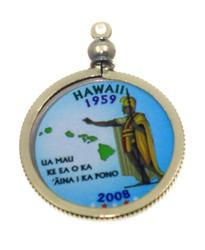 Hawaii State Colored Quarter Pendant