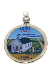Iowa State Colored Quarter Pendant