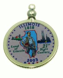 Illinois State Colored Quarter Pendant