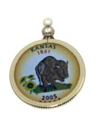 Kansas State Colored Quarter Pendant
