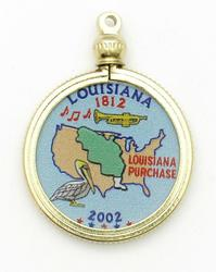 Louisiana State Colored Quarter Pendant
