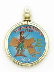Massachusetts State Colored Quarter Pendant