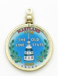 Maryland State Colored Quarter Pendant