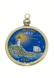 Maine State Colored Quarter Pendant