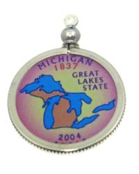 Michigan State Colored Quarter Pendant
