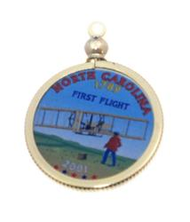 North Carolina State Colored Quarter Pendant