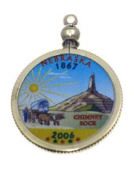 Nebraska State Colored Quarter Pendant