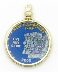 New Hampshire State Colored Quarter Pendant